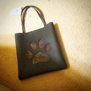 Handbags - All black PUPPY PAW print bag.